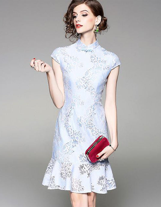 Lace Light Sky Blue Qipao Cheongsam