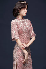 Load image into Gallery viewer, Pink Velvet Qipao Cheongsam