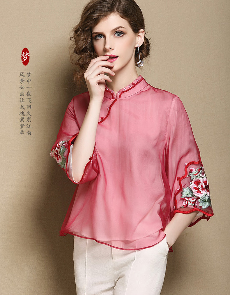 Red Embroidery Qipao Cheongsam
