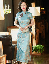 Load image into Gallery viewer, Real Silk Plum blossom Cyan Qipao Cheongsam