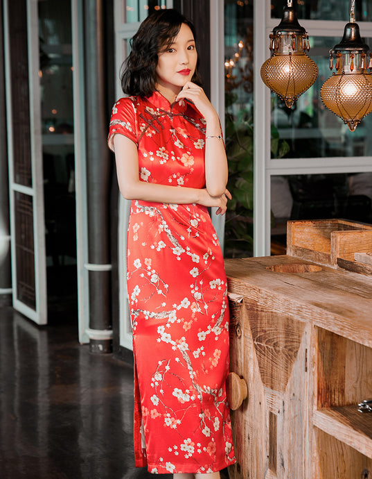 Real Silk Plum blossom Red Qipao Cheongsam