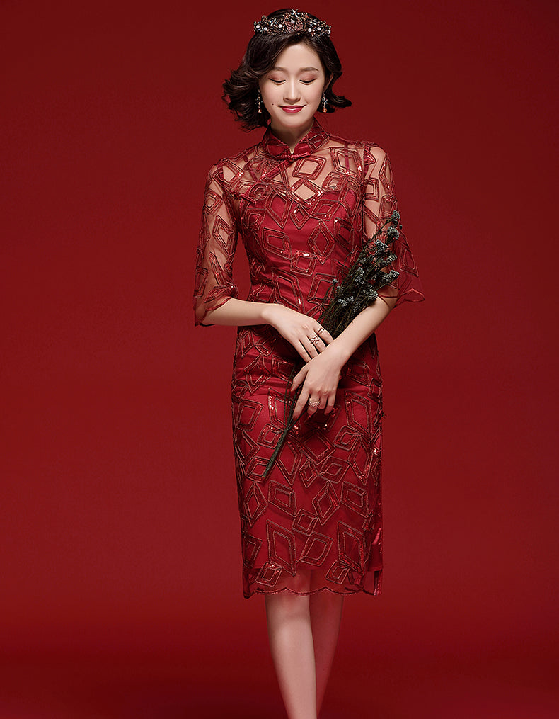 Red Gentle Qipao Cheongsam