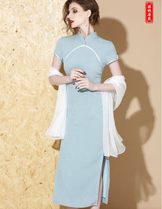 Lake Blue Long Qipao Cheongsam