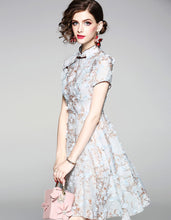 Load image into Gallery viewer, Pale Turquoise Blossom Qipao Cheongsam