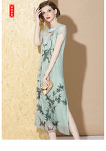 Load image into Gallery viewer, Silk Aventurine Long Qipao Cheongsam
