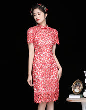 Load image into Gallery viewer, Red Hibiscus Qipao Cheongsam