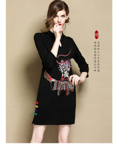 Load image into Gallery viewer, Black Retro Short Qipao Cheongsam