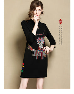 Black Retro Short Qipao Cheongsam
