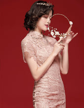 Load image into Gallery viewer, Pink Lace Qipao Cheongsam