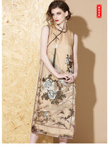 Load image into Gallery viewer, Silk Brown Qipao Cheongsam