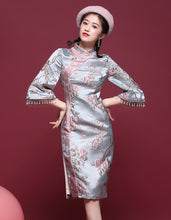 Load image into Gallery viewer, Light Blue Aster Qipao Cheongsam