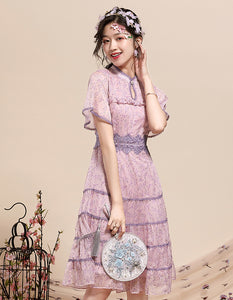 Purple Thin Qipao Cheongsam