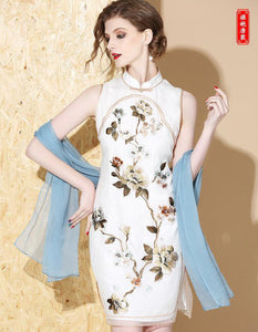 Silk White Short Qipao Cheongsam