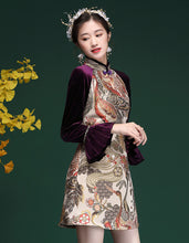 Load image into Gallery viewer, Velvet Stitching Qipao Cheongsam