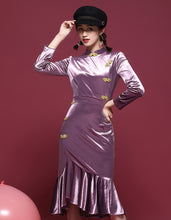 Load image into Gallery viewer, Bright Purple Qipao Cheongsam
