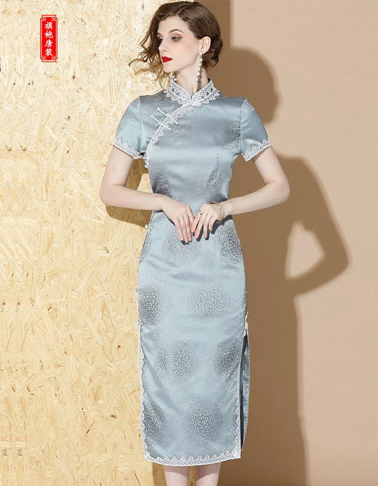 Icy Blue Long Qipao Cheongsam