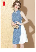 Load image into Gallery viewer, Blue Grey Qipao Cheongsam