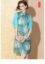 Load image into Gallery viewer, Baby Blue Short Qipao Cheongsam