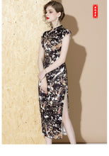 Load image into Gallery viewer, Gold Black Long Qipao Cheongsam