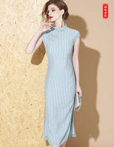 Vertical Stripes Qipao Cheongsam