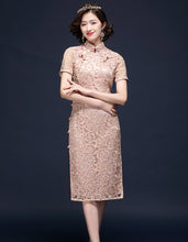 Load image into Gallery viewer, Pink Embroidery Qipao Cheongsam