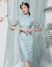Load image into Gallery viewer, Cyan Embroidery Qipao Cheongsam