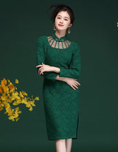 Load image into Gallery viewer, Green Lace Qipao Cheongsam