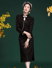Load image into Gallery viewer, Knitted Beading Qipao Cheongsam