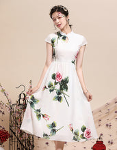 Load image into Gallery viewer, White Print Qipao Cheongsam