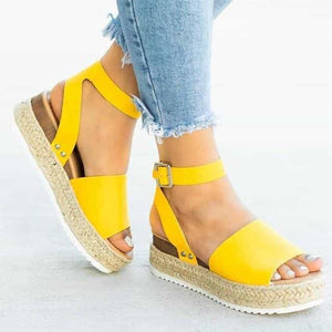 Cleopatra - Beautiful Summer Espandrillos - Yellow / UK:4/US:4.5/EU:35