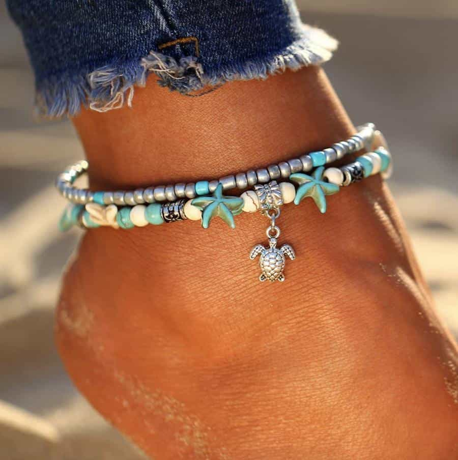 Handmade Anklet with Turtle & Sea Wave Pendant - Turtle - Anklets