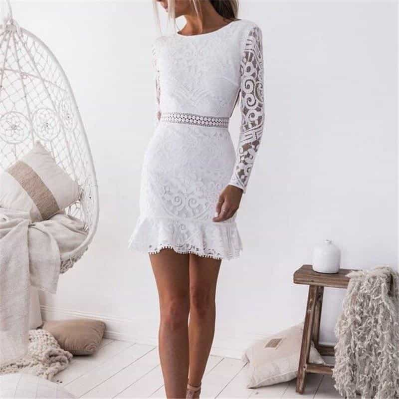 La Belle - Sensational White Summer Dress - S (4-6 US) (8 UK) - Kleider