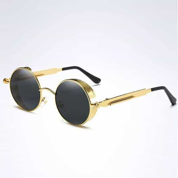 The Steampunk - Cool Retro Sunglasses - Gold / Black - Sonnenbrillen