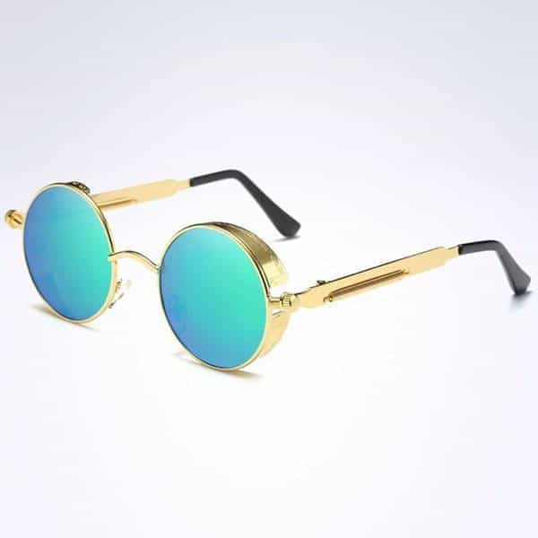 The Steampunk - Cool Retro Sunglasses - Gold / Green - Sonnenbrillen