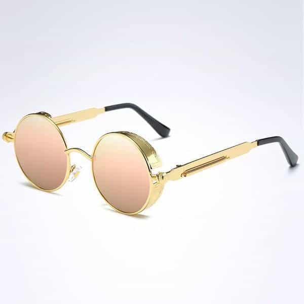 The Steampunk - Cool Retro Sunglasses - Gold / Pink Mirror - Sonnenbrillen