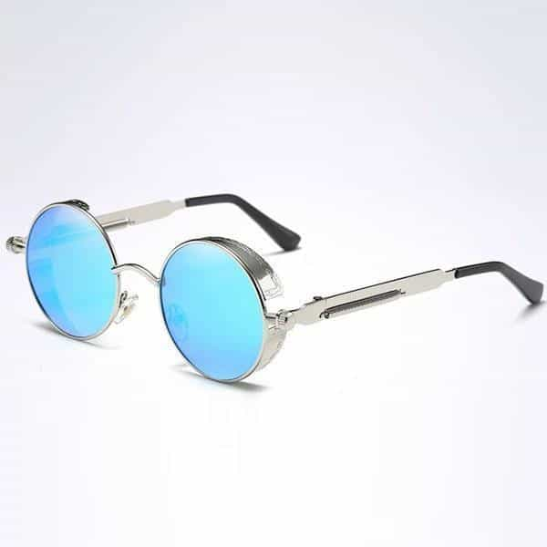 The Steampunk - Cool Retro Sunglasses - Silver / Blue Mirror - Sonnenbrillen