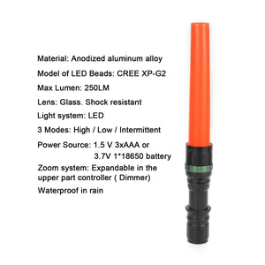 UltraFire UF-303 11-Inch Signal Traffic Wand Baton LED Flashlight 250 Lumens