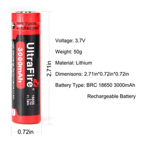 UltraFire BRC 18650 3.7V 3000mAh Rechargeable Lithium Battery (2PCS)