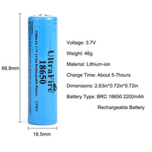 Load image into Gallery viewer, UltraFire 18650 3.7V Li-ion 2200mAh MAX battery rechargeable battery