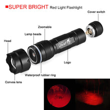 Load image into Gallery viewer, UltraFire WF-502R Red light XP-E2 LED 630nm Adjustable Focus Emergency Flashlight