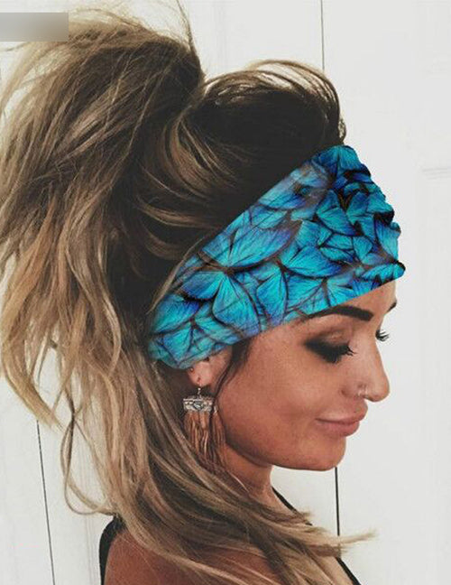 H543 Blue and Black Butterflies Wide Brimmed Head Band (Can Also Be Worn as a Mask)