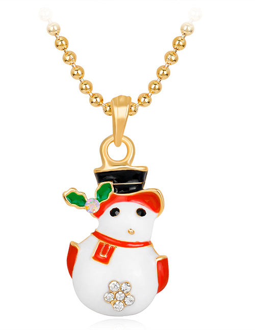 Z142 Gold Snowman Necklace with FREE EARRINGS