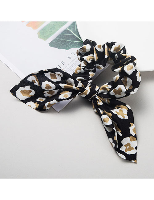H444 Black Leopard Hair Scrunchie with Bow