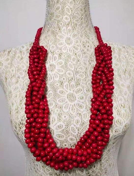 N1170 Red Multi Strand Bead Necklace with FREE Earrings