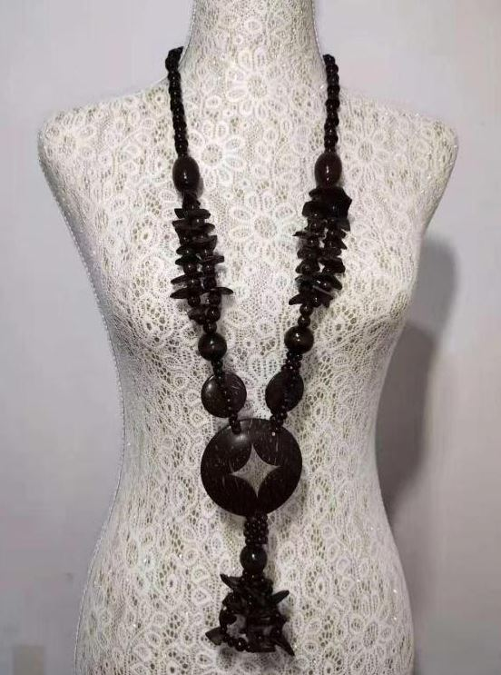 N1379 Brown Long Wooden Necklace with FREE Earrings