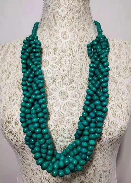 N512 Turquoise Multi Strand Bead Necklace with FREE Earrings
