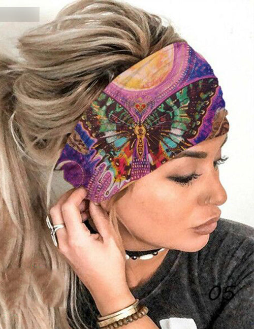 H545 Purple Colorful Butterfly Wide Brimmed Head Band (Can Also Be Worn as a Mask)