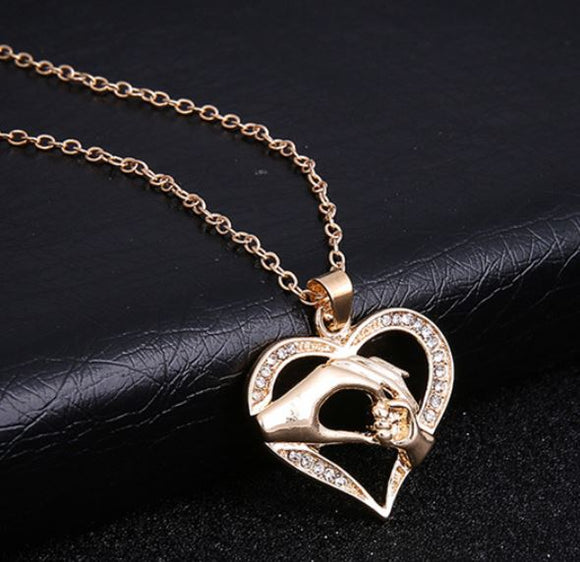 N712 Gold Mom & Baby Holding Hands Rhinestone Heart Necklace with FREE Earrings