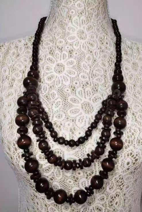 N1377 Brown Layered Wooden Necklace with FREE Earrings