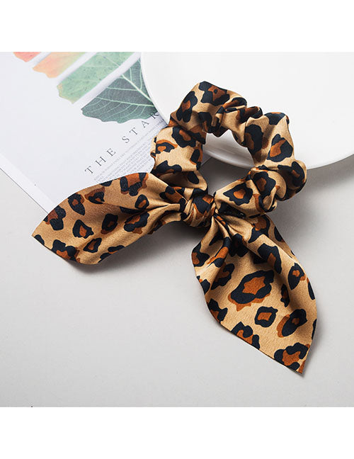 H445 Brown Leopard Hair Scrunchie with Bow